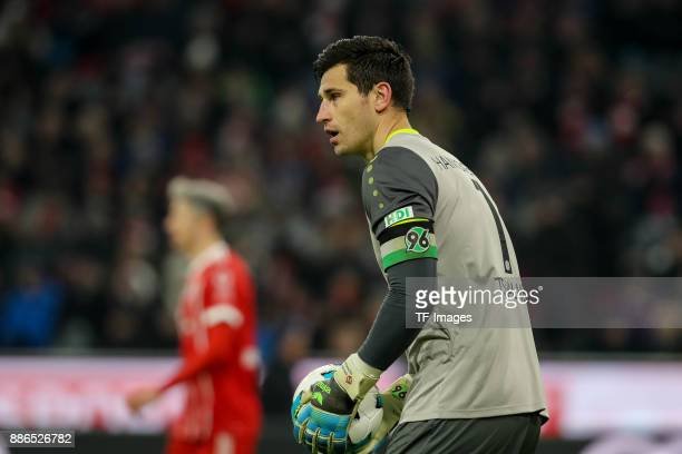 Goalkeeper Philipp Tschauner of Hannover controls the ball during the Bundesliga match between FC Bayern Muenchen and Hannover 96 at Allianz Arena on...