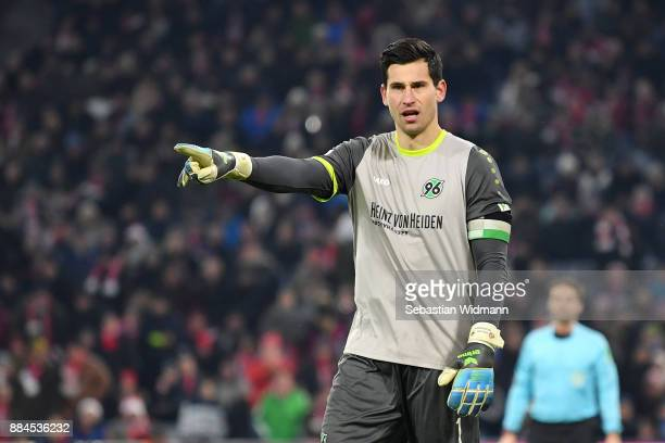 Goalkeeper Philipp Tschauner of Hannover gestures during the Bundesliga match between FC Bayern Muenchen and Hannover 96 at Allianz Arena on December...