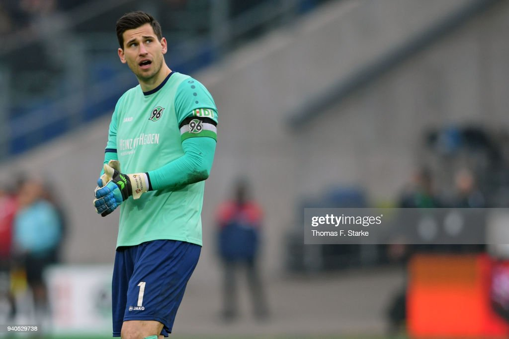 Goalkeeper Philipp Tschauner of Hannover looks dejected during the Bundesliga match between Hannover 96 and RB Leipzig at HDI-Arena on March 31, 2018 in Hanover, Germany.