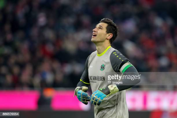 Goalkeeper Philipp Tschauner of Hannover looks on during the Bundesliga match between FC Bayern Muenchen and Hannover 96 at Allianz Arena on December...