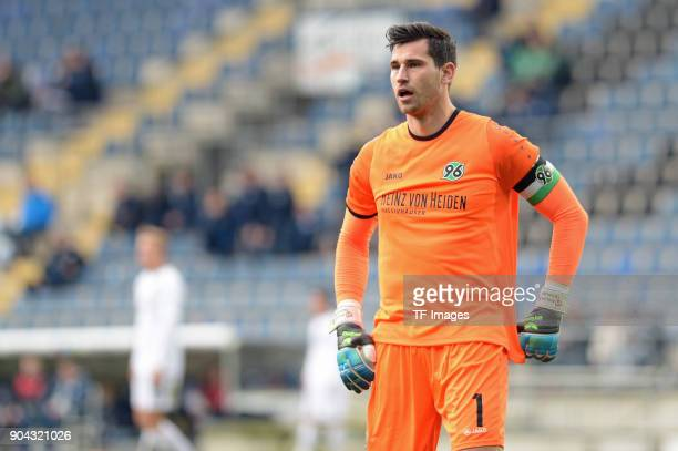 Goalkeeper Philipp Tschauner of Hannover looks on during the HHotelscom Wintercup match between Hertha BSC and Hannover 96 at SchuecoArena on January...