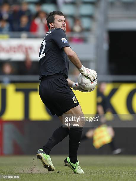 Goalkeeper Piet Velthuizen of Vitesse during the Dutch Eredivisie match between ADO Den Haag and Vitesse on Oktober 2 2013 at the Kyocera stadium in...