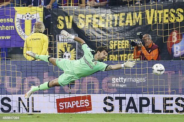 goalkeeper Piet Velthuizen of Vitesse during the Dutch Eredivisie match between Vitesse Arnhem v sc Heerenveen at Gelredome on September 20 2014 in...
