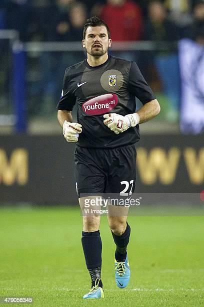 goalkeeper Piet Velthuizen of Vitesse during the Dutch Eredivisie match between Vitesse Arnhem and PSV Eindhoven at Gelredome on March 15 2014 in...