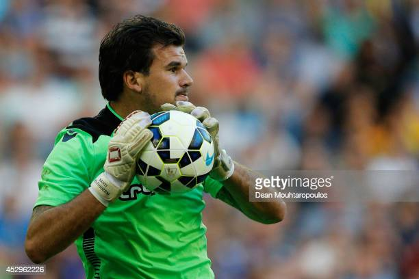 Goalkeeper Piet Velthuizen of Vitesse in action during the pre season friendly match between Vitesse Arnhem and Chelsea at the Gelredome Stadium on...