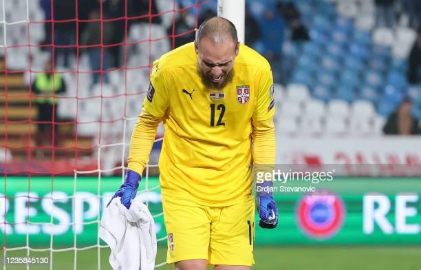 Goalkeeper Predrag Rajkovic of Serbia reacts during the 2022 FIFA World Cup Qualifier match between Serbia and Azerbaijan at Rajko Mitic stadium on...