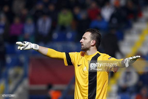 Goalkeeper Premsyl Kovar of FC Sloban Liberec during the Europa League quarter final match between Slovan Liberec and AZ Alkmaar at the u Nisy...