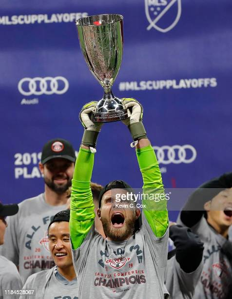 Goalkeeper Quentin Westberg of Toronto FC celebrates after their 21 win over the Atlanta United in the Eastern Conference Finals between Atlanta...
