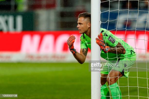 Goalkeeper Rafal Gikiewicz of Union Berlin gestures during the Second Bundesliga match between FC Ingolstadt 04 and 1 FC Union Berlin at Audi...