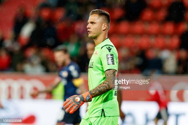 Goalkeeper Rafal Gikiewicz of Union Berlin looks on during the Second Bundesliga match between FC Ingolstadt 04 and 1 FC Union Berlin at Audi...