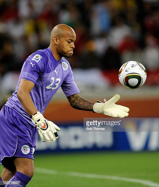 Goalkeeper Rais Bolhi of Algeria during the 2010 FIFA World Cup South Africa Group C match between England and Algeria at Green Point Stadium on June...