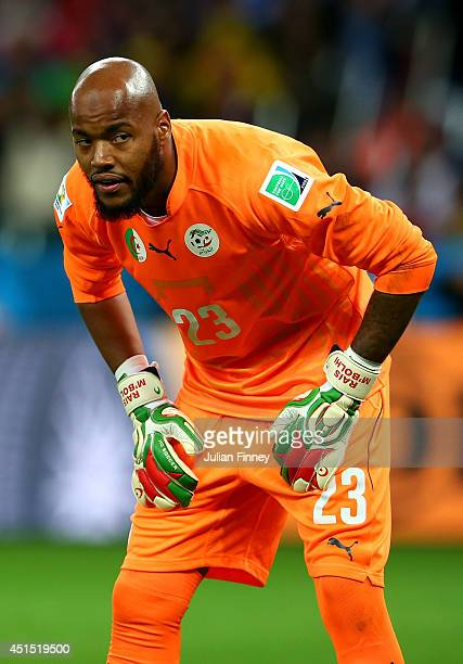 Goalkeeper Rais M'Bolhi of Algeria looks on during the 2014 FIFA World Cup Brazil Round of 16 match between Germany and Algeria at Estadio BeiraRio...