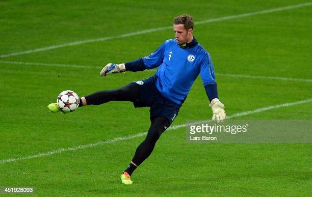 Goalkeeper Ralf Faehrmann kicks the ball during a FC Schalke 04 training session prior to their UEFA Champions League Group E match against FC Steaua...