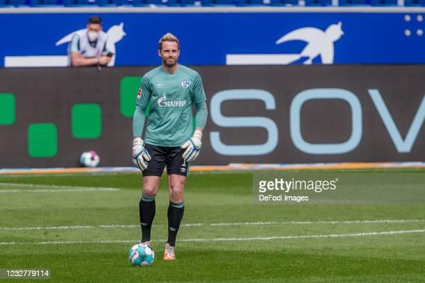 Goalkeeper Ralf Faehrmann of FC Schalke 04 controls the Ball during the Bundesliga match between TSG Hoffenheim and FC Schalke 04 at PreZero-Arena on...