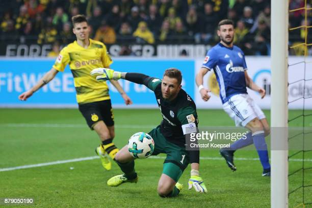 Goalkeeper Ralf Faehrmann of Schalke can't save the ball coming from Benjamin Stambouli of Schalke who scores an own goal to make it 20 during the...