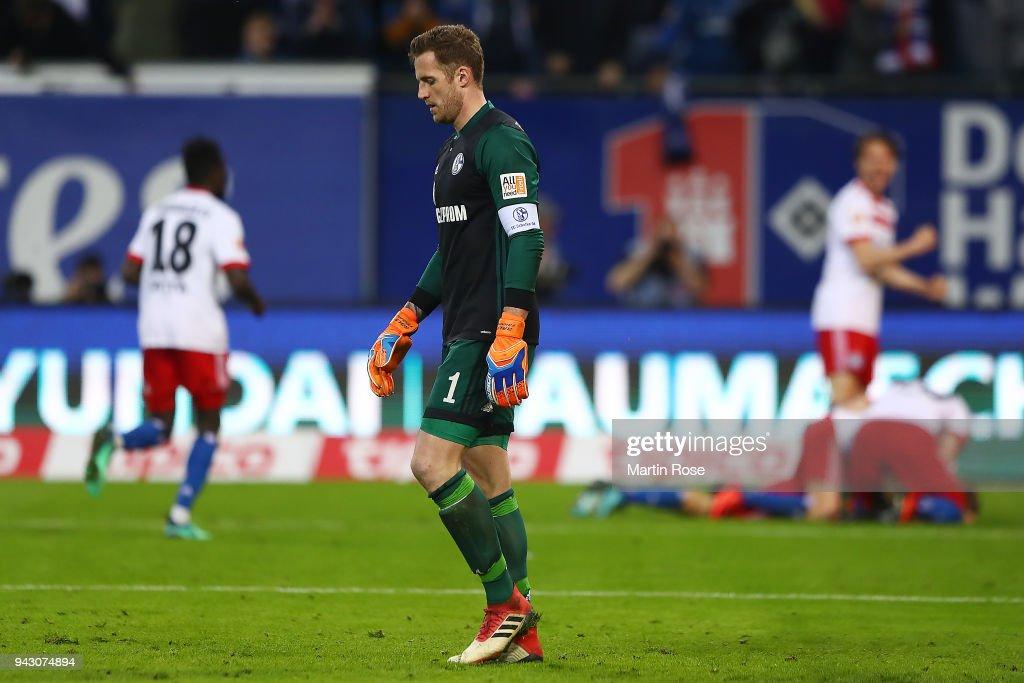 Goalkeeper Ralf Faehrmann of Schalke reacts after Aaron Hunt of Hamburg scored a goal to make it 3:2 during the Bundesliga match between Hamburger SV and FC Schalke 04 at Volksparkstadion on April 7, 2018 in Hamburg, Germany.