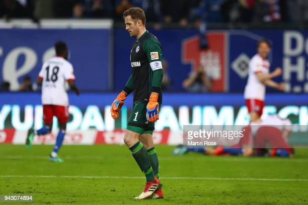 Goalkeeper Ralf Faehrmann of Schalke reacts after Aaron Hunt of Hamburg scored a goal to make it 32 during the Bundesliga match between Hamburger SV...
