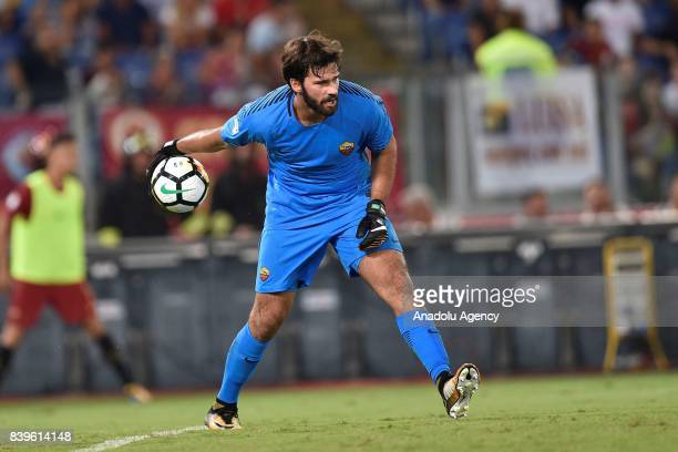 Goalkeeper Ramses Becker Allison of AS Roma saves a penalty during Italian Serie A soccer match between AS Roma and FC Intenational Milano at Stadio...