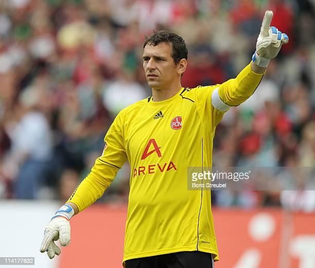 Goalkeeper Raphael Schaefer of Nuernberg gestures during the Bundesliga match between Hannover 96 and 1 FC Nuernberg at AWD Arena on May 14 2011 in...