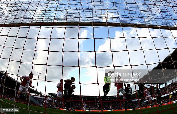 Goalkeeper Raphael Schaefer of Nuernberg saves a shoot during the Bundesliga Play Off match between FC Energie Cottbus and 1.FC Nuernberg at the...