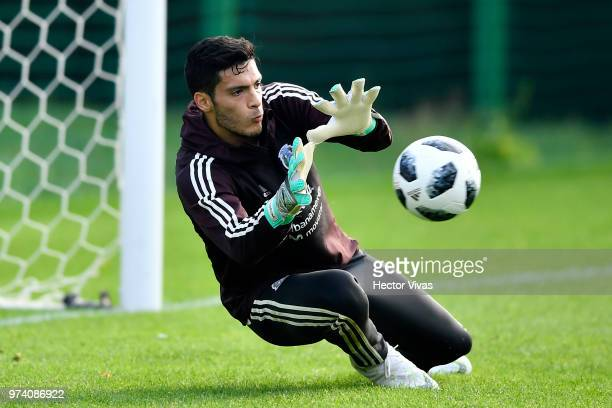 Goalkeeper Raul Jimenez of Mexico makes a save during a training session at FC Strogino Stadium on June 12 2018 in Moscow Russia