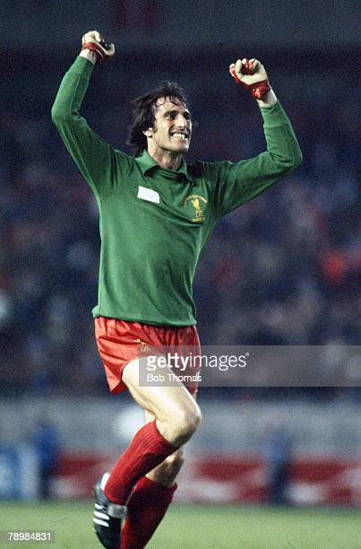 Goalkeeper Ray Clemence celebrating Liverpool's victory over Real Madrid in the European Cup Final in Paris 27th May 1981 The final score was...