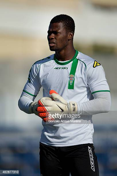 Goalkeeper Razak Brimah of Cordoba CF looks on during his warming up prior to start the friendly football match between Marbella FC and Cordoba CF at...