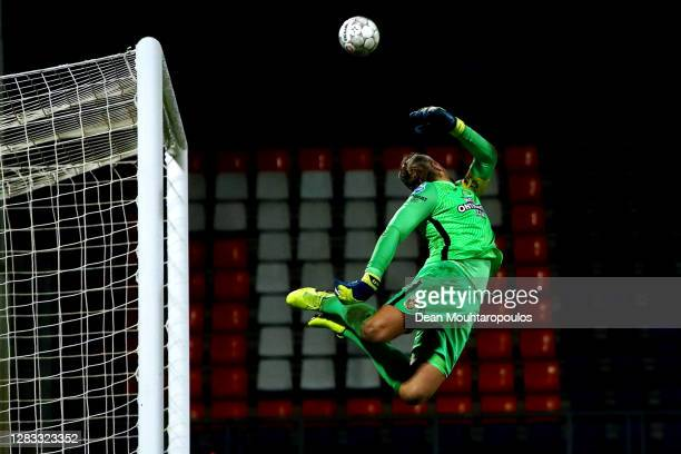Goalkeeper, Remko Pasveer of Vitesse Arnhem attempts a save during the Dutch Eredivisie match between Willem II and Vitesse at Koning Willem II...