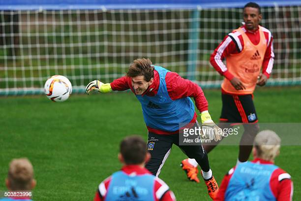 Goalkeeper Rene Adler goes for a header during a Hamburger SV training session on day 2 of the Bundesliga Belek training camps at Sueno Deluxe Hotel...