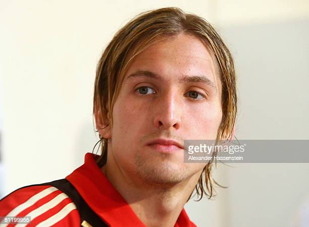 Goalkeeper Rene Adler of Germany looks on during a press conference at the Son Moix stadium on May 22 2008 in Mallorca Spain
