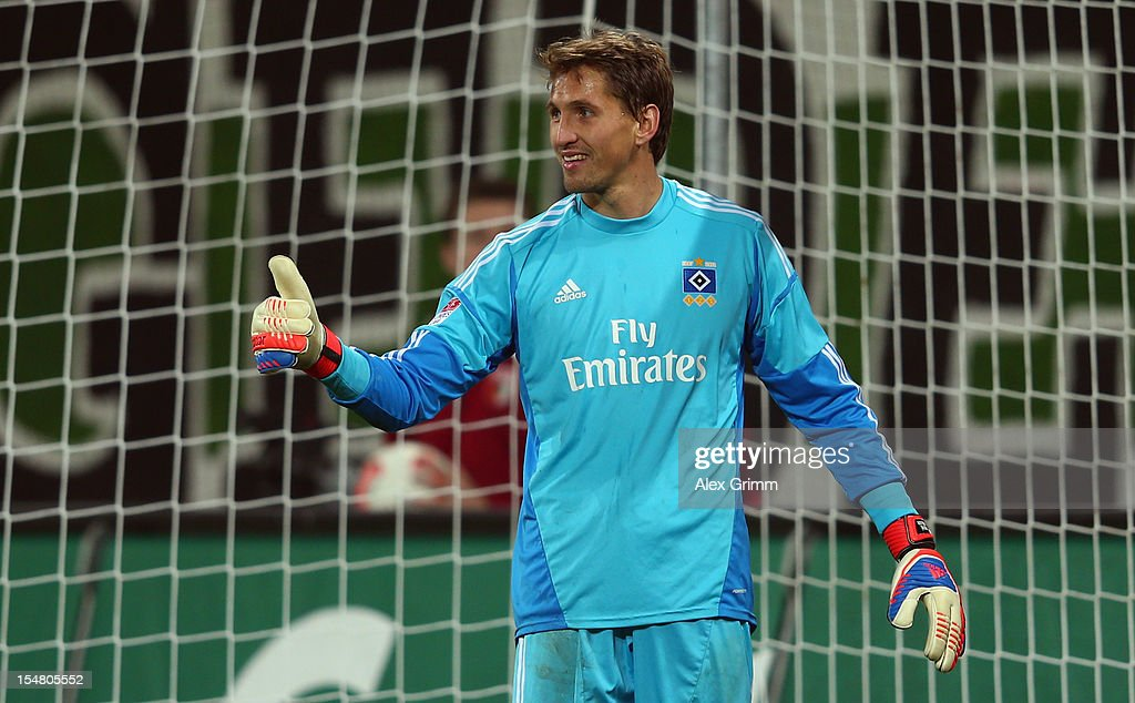 Goalkeeper Rene Adler of Hamburg shows thumbs up during the Bundesliga match between FC Augsburg and Hamburger SV at SGL Arena on October 26, 2012 in Augsburg, Germany.