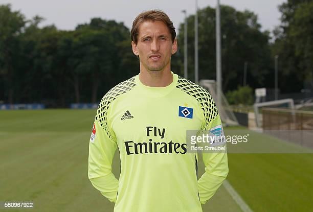 Goalkeeper Rene Adler of Hamburger SV poses during the Hamburger SV Team Presentation at Volksparkstadion on July 25 2016 in Hamburg Germany