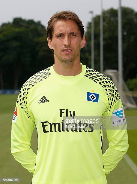 Goalkeeper Rene Adler of Hamburger SV poses during the Hamburger SV Team Presentation at Volksparkstadion on July 25 2016 in Hamburg Germany