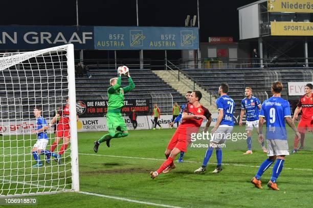 Goalkeeper Rene Swete of Hartberg saves a corner kick during the tipico Bundesliga match between FC Admira and TSV Hartberg at BSFZArena on November...