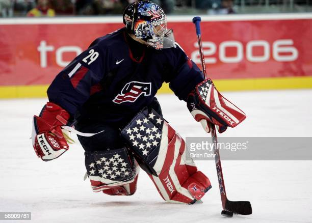 Goalkeeper Rick Dipietro of United States watches the play during the quarter final of the men's ice hockey match between Finland and the United...