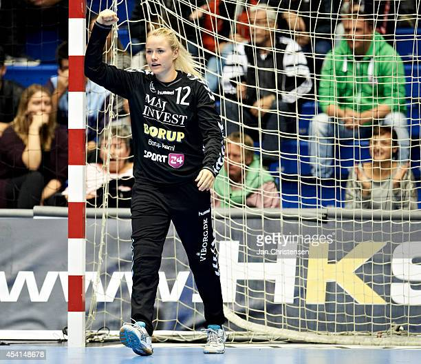 Goalkeeper Rikke Poulsen of Viborg HK celebrate after a save during the Super Cup Final between Viborg HK and FC Midtjylland in Gigantium on August...