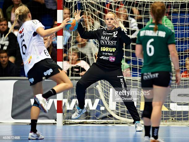 Goalkeeper Rikke Poulsen of Viborg HK in action during the Super Cup Final between Viborg HK and FC Midtjylland in Gigantium on August 22 2014 in...