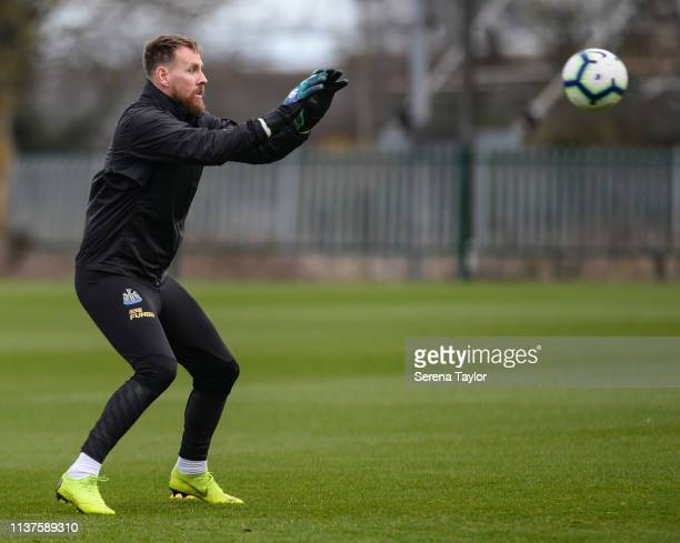 Goalkeeper Rob Elliot catches the ball during the Newcastle United Training Session at the Newcastle United Training Centre on March 22 2019 in...