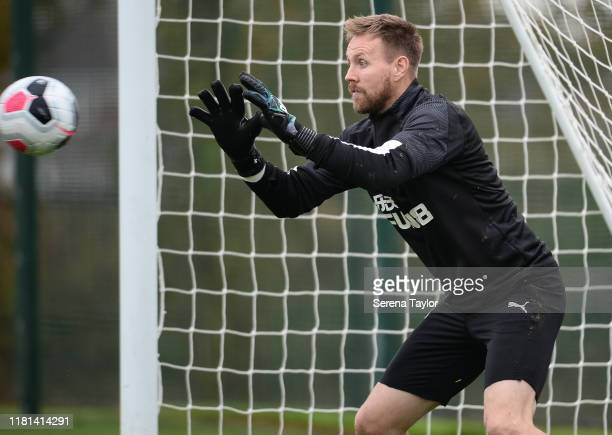 Goalkeeper Rob Elliot catches the ball during the Newcastle United Training Session at the Newcastle United Training Centre on October 16 2019 in...