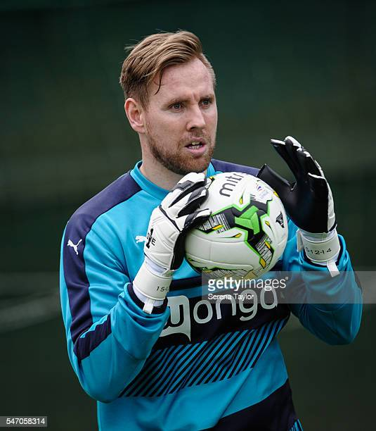 Goalkeeper Rob Elliot catches the ball during the Newcastle United Training Camp at Carton House on July 13 in Kildare Ireland