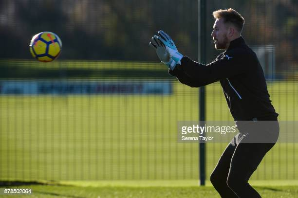 Goalkeeper Rob Elliot catches the ball during the Newcastle United Training Session at the Newcastle United Training Centre on November 24 in...