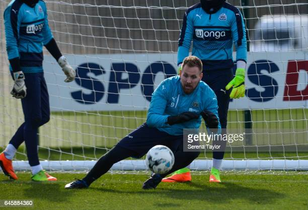 Goalkeeper Rob Elliot dives to make a save during the Newcastle United Training Session at The Newcastle United Training Centre on February 27 2017...