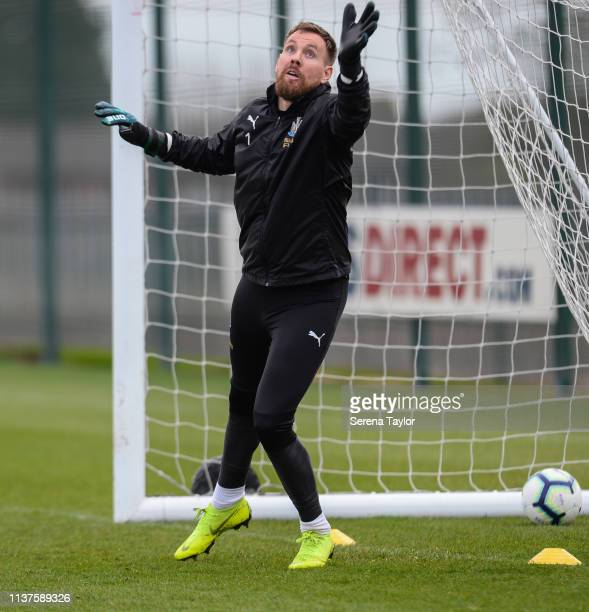 Goalkeeper Rob Elliot during the Newcastle United Training Session at the Newcastle United Training Centre on March 22 2019 in Newcastle upon Tyne...