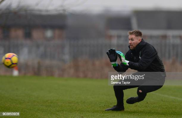 Goalkeeper Rob Elliot during the Newcastle United Training session at the Newcastle United Training Centre on January 11 in Newcastle upon Tyne...