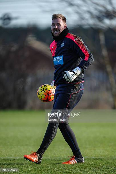 Goalkeeper Rob Elliot holds the ball during the Newcastle United Training session at The Newcastle United Training Centre on January 28 in Newcastle...