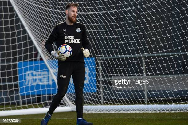 Goalkeeper Rob Elliot holds the ball during the Newcastle United Training session at the Newcastle United Training Centre on March 29 in Newcastle...