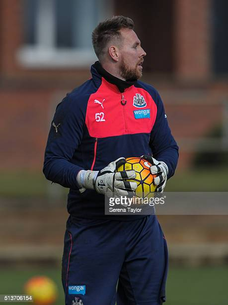 Goalkeeper Rob Elliot holds the ball in both handsduring the Newcastle United Training session at The Newcastle United Training Centre on March 4 in...