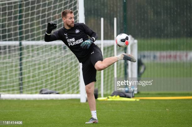 Goalkeeper Rob Elliot juggles the ball with his foot during the Newcastle United Training Session at the Newcastle United Training Centre on October...