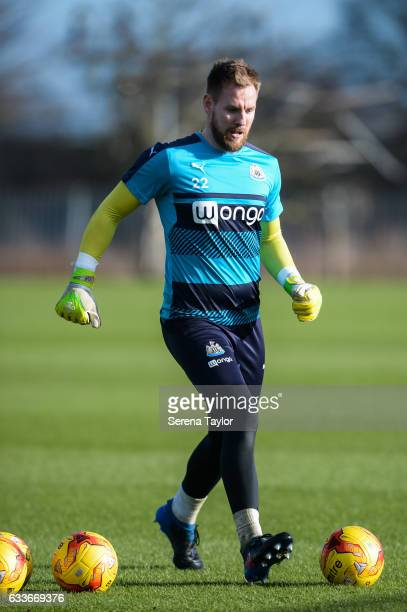 Goalkeeper Rob Elliot kicks the ball during the Newcastle United Training Session at The Newcastle United Training Centre on February 3 2017 in...