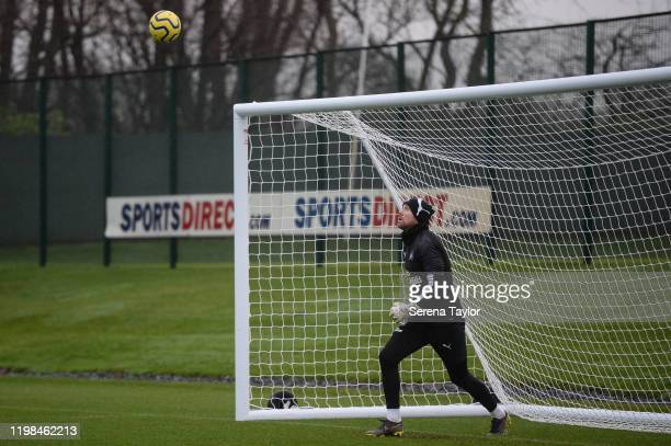 Goalkeeper Rob Elliot looks to jump to catch the ball in a drill during the Newcastle United Training Session at the Newcastle United Training Centre...